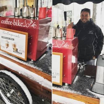 Kaffeewagen Mariahilfer Straße Winter Schnee